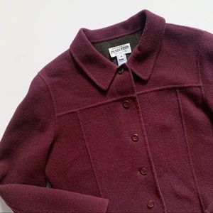 Pendleton• burgundy collard merino wool peacoat